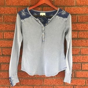 Lucky Brand Blue Thermal Top with Embroidery